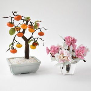 -Vintage Glass Bonsai Persimmon and Cherry Blossom